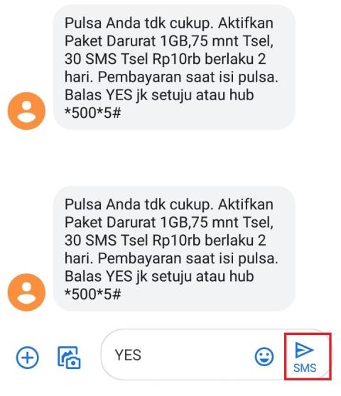 Aktifkan Paket Darurat Telkomsel Via SMS