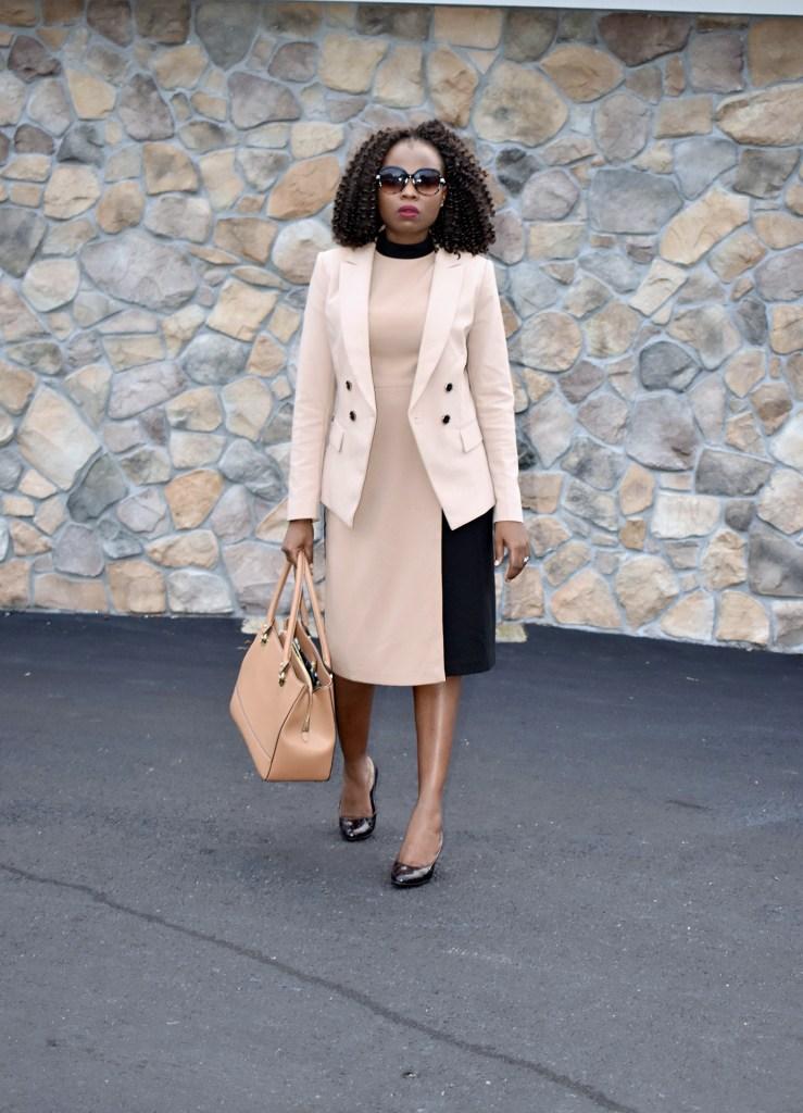Fall office look- Wrap dress + Balmain inspired blazer graphic