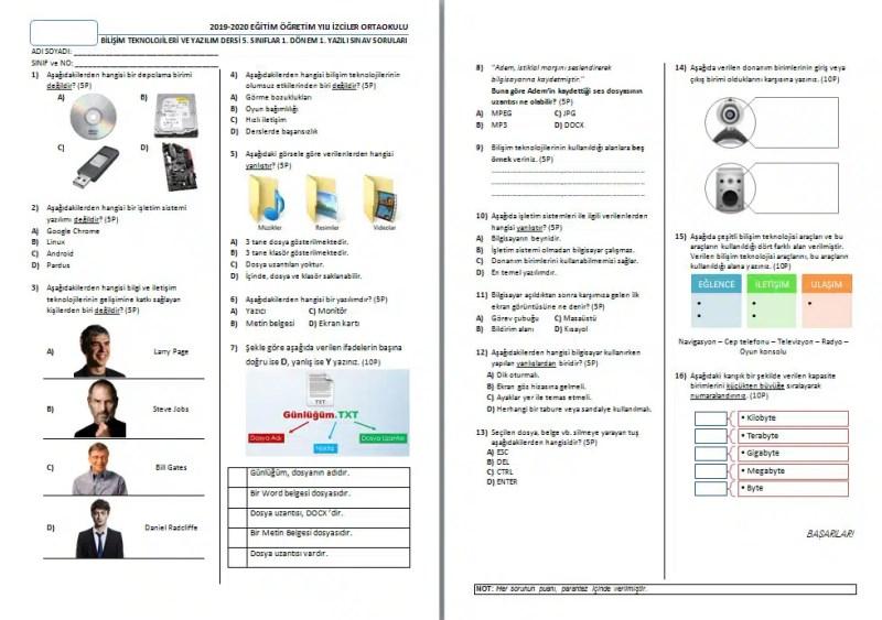 BTY-Dersi-5-Sınıf-1-Yazılı