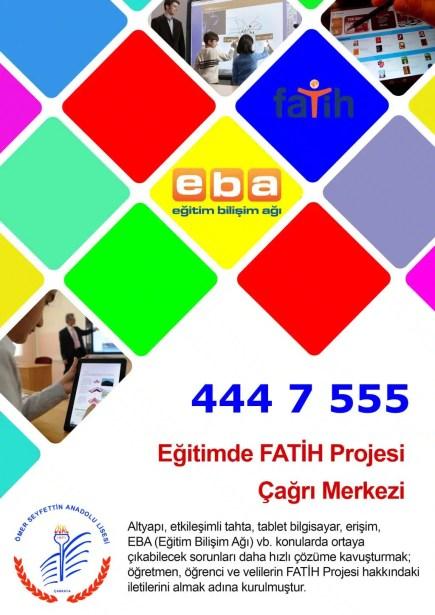 Fatih Projesi çağrı merkezi afiş