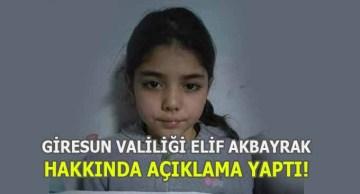 Giresun Valiliği Elif AKBAYRAK Hakkında Açıklama Yaptı!
