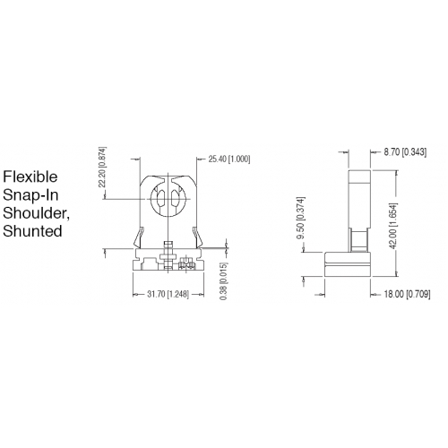 T8 / T12 (FL005-WS) Flexible Snap-In Shoulder Shunted Low