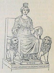 Кибела (Cybele Hellenistic, среща се и като Кимема, Диндимена) е фригийска богиня, считана за Майката-земя.Богинята обединява в себе си двата пола, в знак на това нейните жреци - гали, сами се скопявали. Към средата на I хилядолетие пр.н.е., чрез гръцките колонии в Мала Азия, култът към нея проникнал и в Гърция, където богинята се отъждестявала с Рея. Култът на Кибела (Magna Mater) е въведен в Рим на 4 април 204 пр.н.е., когато черният камък (метеорит), символ на богинята, е преместен от Песинунт, (Фригия) и е поставен в Палатинския храм. В Рим Кибела се отъждествява с гръцката Рея и богинята на посевите и жътвата Опс. През 191 пр.н.е., в периода на Републиката в нейна чест са въведени празниците мегалезии. Изобразявана е в обкръжение на животни. Нейно свещено дърво е пинията, в която тя превърнала любимия си Атис. /вижтв най-долу родословното дърво на всичките богове/