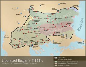 Карта на България от 1878г. по времето на Сан Стефанския мирен договор.