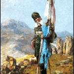 """Знаменосец на Самарското знаме е Никола Корчев. Картина на Ярослав Вешин (1860 – 1915) – """"Самарското знаме"""" от 1911 г."""