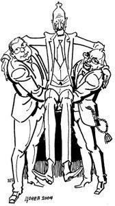 Мандатоносители. Карикатура:Тодор Цонев. ВНОС: Симеон се завръща в страната през 2001 г. Сформираната от него партия НДСВ печели парламентарните избори в коалиция с две малки партии (тъй като не успява да получи съдебна регистрация като партия). Сакскобургготски оглавява правителството в коалиция с ДПС и представители на БСП.На парламентарните избори през юни 2005 г. НДСВ остава втора политическа сила. БСП спечелва и съставя коалиционно правителство с НДСВ и ДПС. Симеон II получава церемониалния пост председател на коалиционния съвет. На първите избори за български представители в Европейския парламент през май 2007 г. НДСВ успява да спечели едно място за евродепутат. ИЗНОС: На проведените на 5 юли 2009 г. избори за 41 НС, НДСВ не успява да премине 4% бариера и остава извън парламента. На 6 юли Симеон Сакскобургготски подава оставка като лидер на движението.