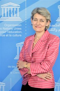 Irina Bokova, Bulgarian ambassador to France, poses at the Unesco headquarters in Paris, Tuesday Sept. 22, 2009. Vying for the top Unesco job to lead the U.N.'s agency for learning and culture, Bokova will face off against Farouk Hosni, a veteran Egyptian government minister dogged by allegations that he is anti-Israel,  after he threatened to burn Israeli books. (AP Photo/Thibault Camus)