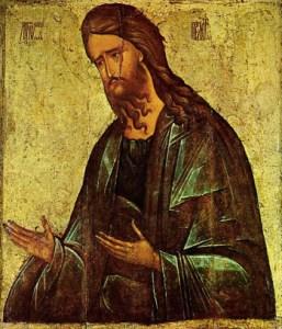 Една от най-известните икони на Свети Иоан Кръстител - автор Андрей Рубльов