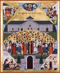 На иконата са изобразени Светите Баташки новомъченици в двора на историческата Баташка църква