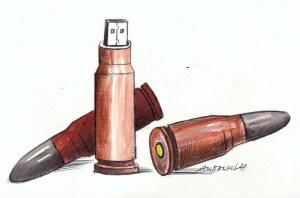 Флашката замени куршума, бутонът замени спусъка, мрежата замени армията! Карикатура: Анатоли Станкулов