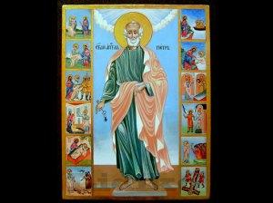 Св. апостол Петър житие - икона от Венцислав Георгиев. Св. Петьр се изобразява като благообразен старец с къса кръгла брада, понякога с къдрави коси. Горната му дреха, която го обгръща като плащ (химатий) е винаги златиста на цвят. Долната му дреха (ризата или хитона) е тъмно синя или синьозелена. С дясната ръка благославя или пък държи ключовете на Небесното Царство. В лявата ръка държи разтворен свитък изписан с текст от двете негови послания или с евангелските думи: