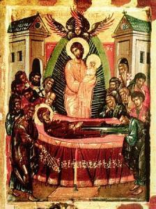 Успение на Богородица, икона. Смъртта на Пресветата Дева била тъй лека и блажена, че приличала на заспиване -