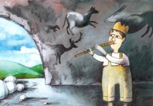 Свирката на водача на стадото в парламента не бе чута. Шефът на депутатите не можа да проведе сесията на НС. Първият вот на недоверие към кабинета на Пламен Орешарски не се състоя и до гласуване въобще не се стигна. Карикатура: Анатоли Станкулов
