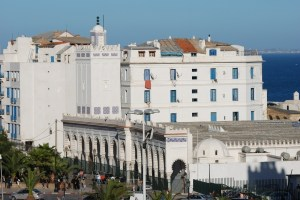 """The Great Mosque of Algiers or """"Djama'a al-Kebir""""  is a mosque in Algiers, Algeria, located is located in the northeastern part of the city in the historic Kasbah area near the harbor, next to the Chamber of Commerce."""