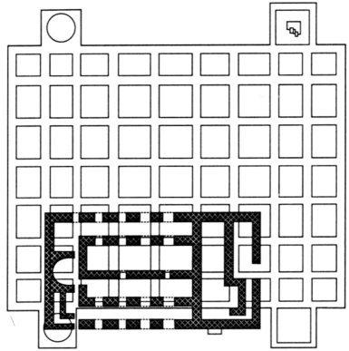 С черния контур са означени основите на новопостроената върху опожарения Крумов дворец Тронна палата