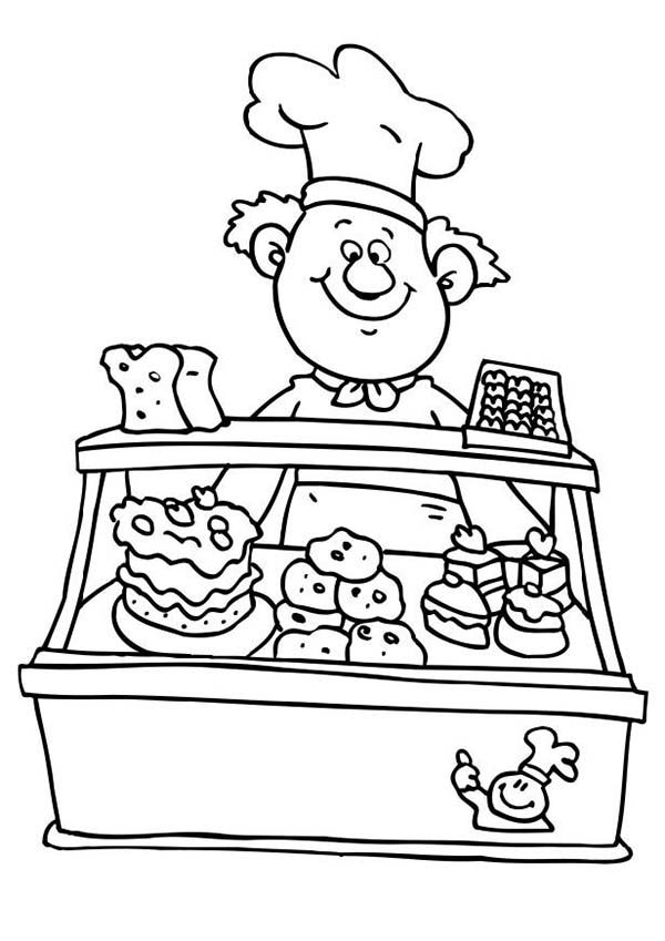 at the bakery Colouring Pages
