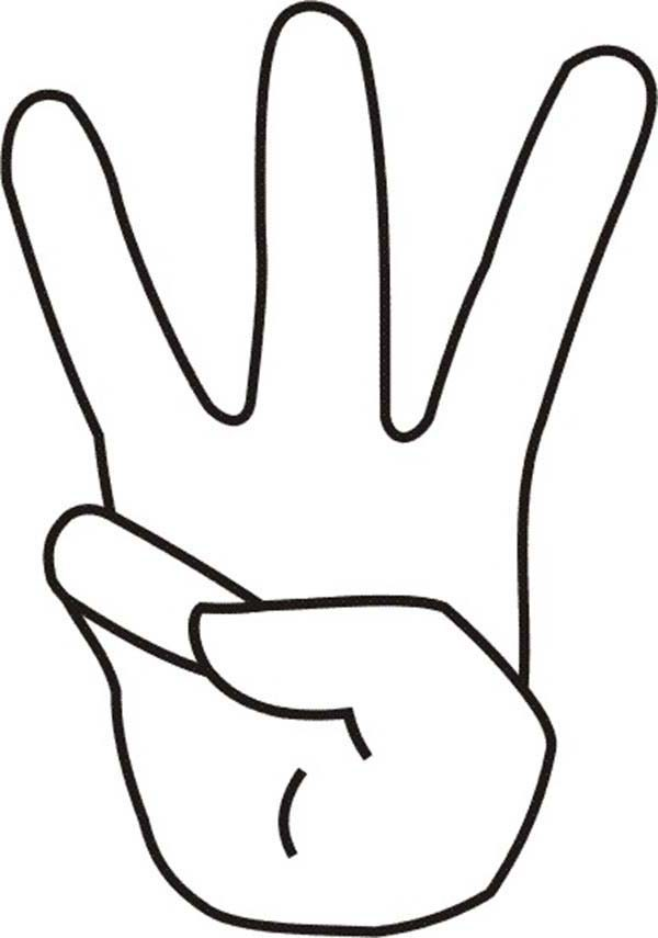 Number 3 Finger Count To Coloring Page Sketch Coloring Page