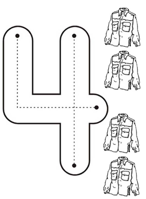 Number 4 Pages For Preschoolers Coloring Pages