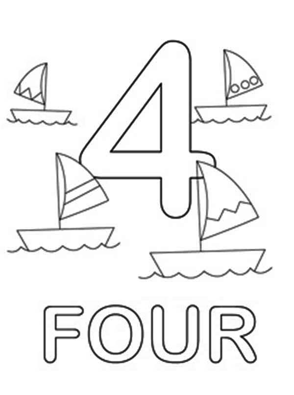 Block Number 4 Page Coloring Pages