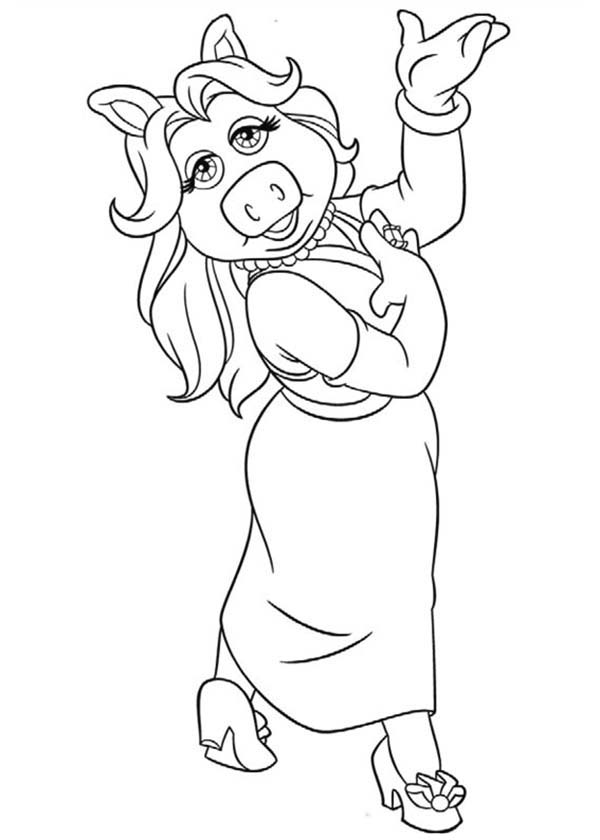 Lovely Miss Piggy From The Muppets Coloring Pages Bulk Color