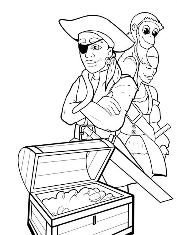 Treasure Chest Under The Sea Coloring Pages Sketch