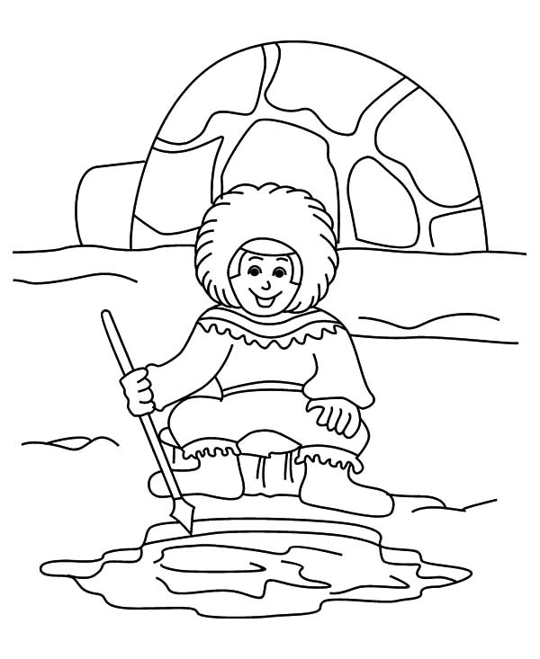 Eskimo Igloo House Coloring Page Sketch Coloring Page