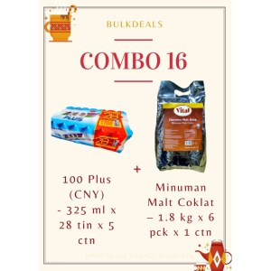 COMBO 16 – 100 Plus (CNY) 325 ml x 28 tin x 5 ctn + Minuman Malt Coklat (Chocolate Malt Drink) – 1.8 kg x 6 pkt x 1 ctn