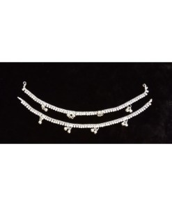 Silver Single Line Stone Anklet