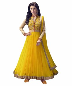 Yellow Colour Net Embroidered Semi stitched Salwar in Wholesale Price.