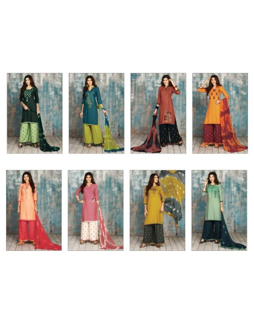 Rs 750 Pc Fusion Wholesale Suit Catalog 08 pcs (Stitched)