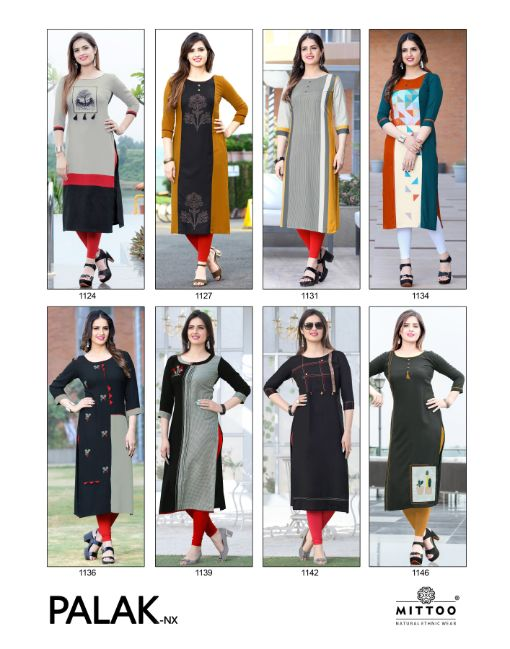 Rs 445 Pc Mittoo Palak NX Stitched Kurti Wholesale Catalog 08 pcs
