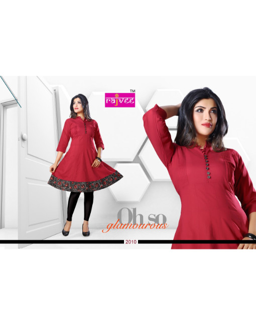 Rs 439 Piece - Rajvee Anarkali Stitched kurti Wholesale Catalog 10 pcs
