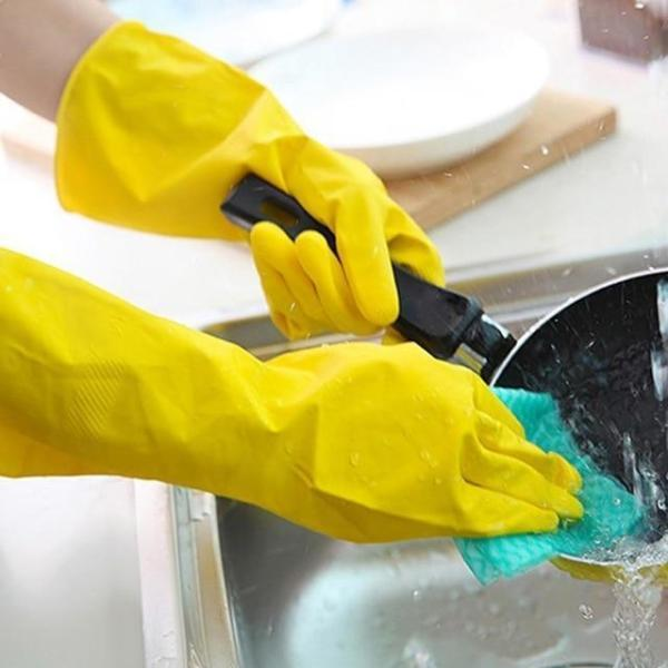 0662 - Flock line Reusable Rubber Hand Gloves (Yellow 2 tone) - 1pc - Bulkysellers.com