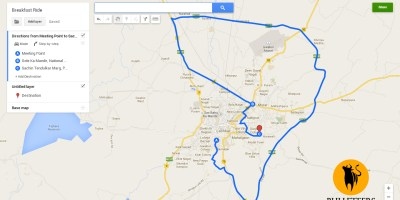 Route map for breakfast ride in gwalior city on 25 May