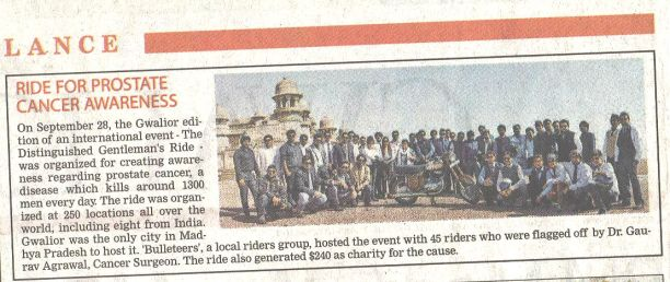 Gentlemans Ride Gwalior in Times of India, Gwalior City edition