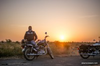 Bulleteer Dinesh Gupta with his thunderbird 350 while on the was to Dev Kho