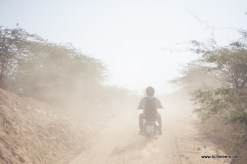 Going through a short dusty patch while on our way back from tighra dam