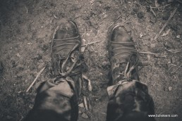 Dirty woodland leather boots