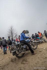 A rider with his royal enfield at rider mania 2015