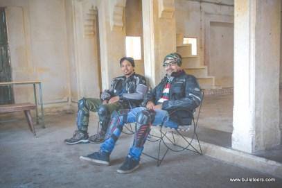 Manish Satija and Nishant Tomar resting + posing at Pahadgarh Fort