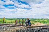 Crossing a railway track near Pehsari Dam