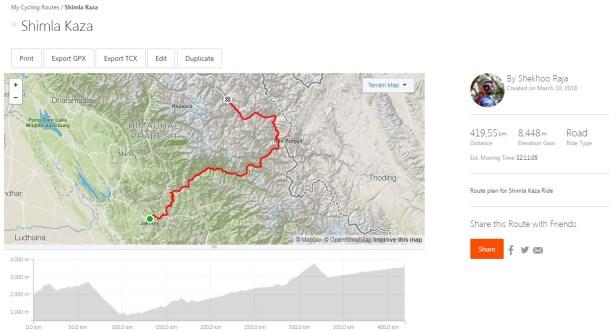 Shimla Kaza Cycling Route