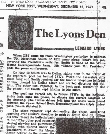 1963-12-18 Leonard Lyons column on Merriman Smith's scoop