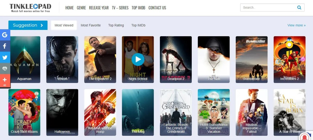 Top Best sites like Tinklepad - Watch full movies without downloading