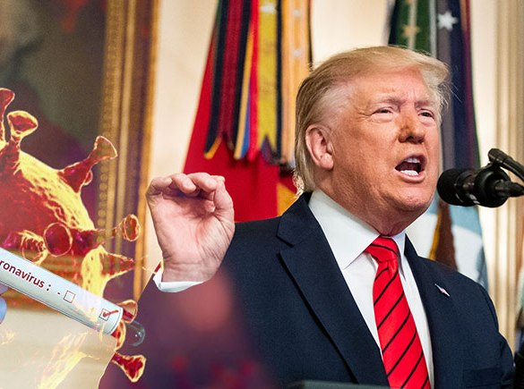 Donald Trump over coronavirus
