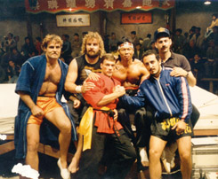 Paulo Tocha on the set with actors, Don Gib, Van Damme, and with Frank Dux