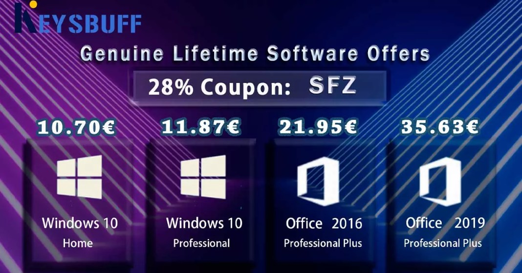 Windows 10 for 11 euros and Office 2019 for 18 euros