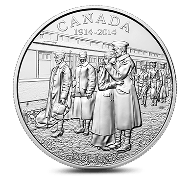 2014 - $1 Brilliant Fine Silver Coin - 100th Anniversary of the Declaration of the First World War