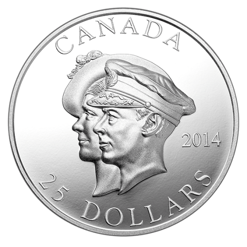 2014 - $25 Ultra High Relief Fine Silver Coin - 75th Anniversary of the First Royal Visit