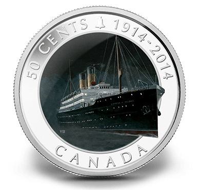 2014 - 50 Cent Silver Platted Coin - Lost Ships in Canadian Water - R.M.S. Empress of Ireland